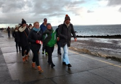 Our liaison to the Center for Irish Studies, graduate student Michael Lydon, leads students on a walk along the Salthill Promenade.