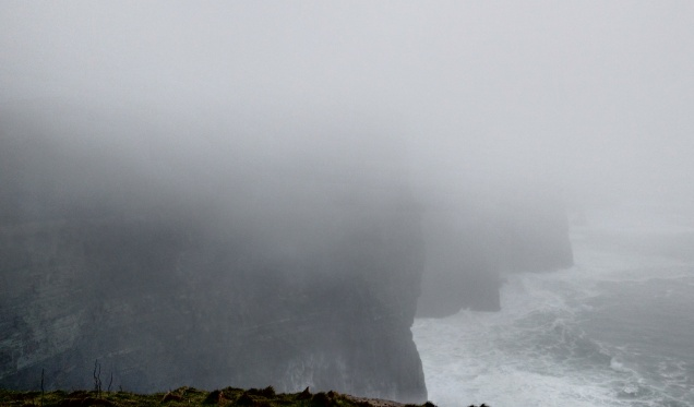 Somewhere in the mist are the Cliffs of Moher, Ireland's most visited tourist site. The sea and the base of the cliffs are sort of visible at the bottom. But the combination of rain, wind and fog made viewing of the cliffs basically impossible.